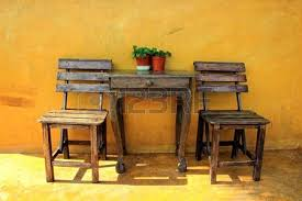 Old Wooden Table And Chairs Old Vintage Wooden Chair And Table Stock Photo Picture And