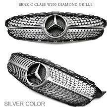 black diamond benz new front diamond style grille silver black for mercedes benz c
