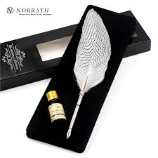 vintage silver feather pen luxury gift box quill ink pen