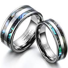 verlobungsringe paar jewelrywe 1 paar wolfram wolframcarbid poliert mit abalone