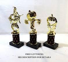 set of 3 halloween trophies pumpkin scarecrow 5 4 3 free lettering