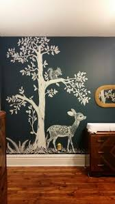 best 25 nursery wall murals ideas on pinterest nursery murals woodland nursery hand painted woodland nursery mural inspired by vintage fabric mural