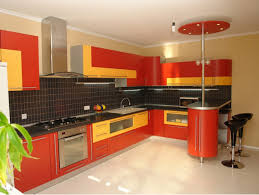 Bright Floor L Kitchen Cool Bright And Yellow L Shape Design With Black Tiles