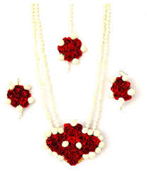 red flower necklace images Floret jewellery red flower jewellery necklace with maang tika jpg