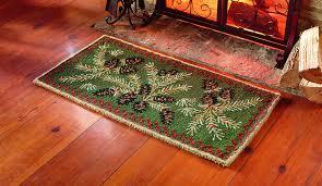 amazon com hooked wool pine cone hearth rug 2 u0027 x 4 u0027 kitchen