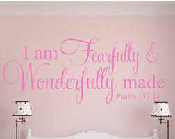 Scripture Wall Decals For Nursery Fearfully And Wonderfully Made Wall Decal Etsy