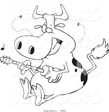 vector of a cartoon cow guitarist outlined coloring page drawing