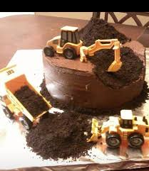 construction cake use crushed oreo as the dirt and place heavy