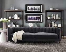 Armen Living Barrister Sofa by Furniture Cooper Grey Velvet Sofa From Tov Furniture With Black