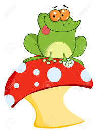 frog sitting on a mushroom royalty free cliparts vectors and