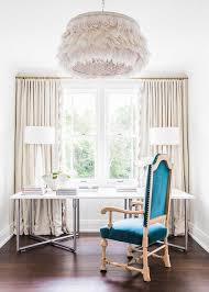 Open Home Office Gray Curtains Open To Home Office Nook Transitional Den