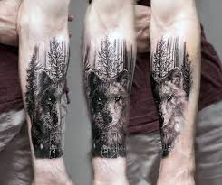 Forearm Wolf - wolf with trees mens inner forearm tattoos ideas