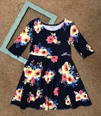 justice girls size 10 dress blue floral skater fit flare spring