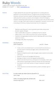 security guard resume security cv resumess franklinfire co