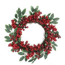 18 berries two tone green leaves artificial wreath unlit