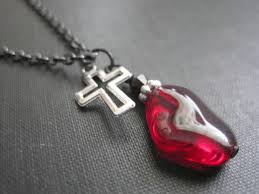 red gothic necklace images Red glass cross goth necklace vamps jewelry gothic victorian jewelry jpg
