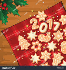christmas background gingerbread cookies stock vector 520136866