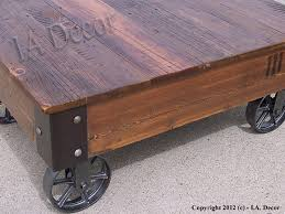 Rustic Coffee Table With Wheels Factory Cart Coffe Table Reclaimed Wood Coffee Table