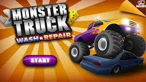monster truck game video monster truck wash and repair car wash cartoon car wash for