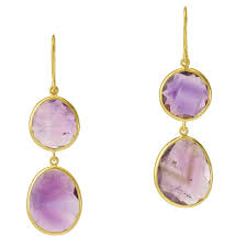 amethyst drop earrings pippa small yellow gold and amethyst slice drop earrings