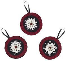snowflake ornament felt embroidered set of 3