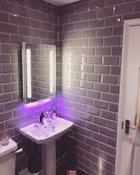 Gray Subway Tile Bathroom by New Bathroom Grey Subway Tiles Towel Rail Orla Kiely Towels