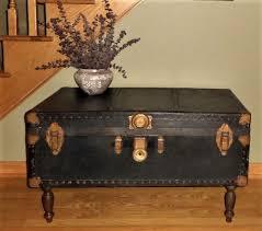 vintage steamer trunk coffee table black steamer trunk
