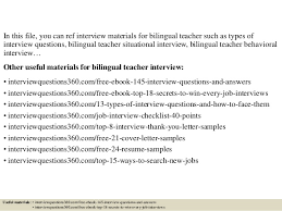 Bilingual Teacher Resume Samples by Top 10 Bilingual Teacher Interview Questions And Answers