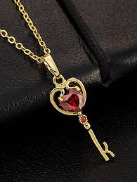 heart key pendant necklace images Red faux gemstone heart key pendant necklace jpg