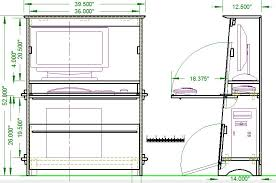 craftsman style small computer desk open front and cutaway views sketch 1