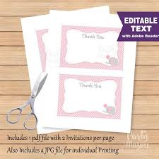 printable note cards pdf editable elephant thank you cards editable text printable baby