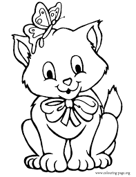 printable coloring pages kittens cats and kittens the kitten with a butterfly on his head coloring page