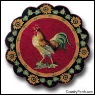Round Rooster Rug Chicken Kitchen Decorating Theme
