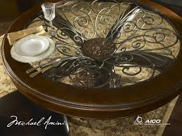 furniture charming round table with floral ornament by aico