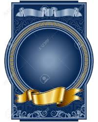 blue and gold ribbon label with circle frame and gold ribbon royalty free cliparts