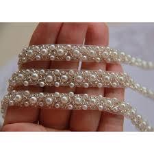 beautiful beaded lace border faux pearl diy cloth