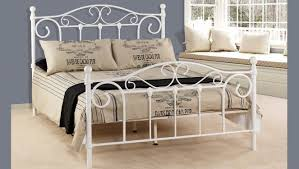 White Double Metal Bed Frame Avont Metal Double Bed Furniture House Group