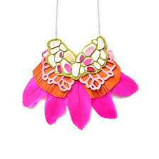 pink leather necklace images Statement necklace leather feather geometric bib necklace hot pin jpg