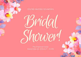 bridal shower cards pink floral bridal shower card templates by canva