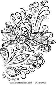 black white paisley henna mehendi ornament stock vector 584999194