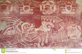 painted interior of temple in teotihuacan royalty free stock