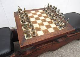 Contemporary Chess Set Mid Century Modern Witco Sculpted Swamp Cedar Chess Table With