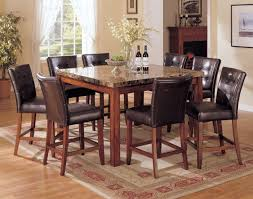 excellent marble top dining table for 6 brown leather dining