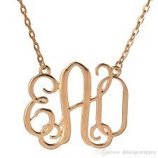 Monogram Pendant Necklace With Initials Wholesale Monogram Pendant Necklace Women 2017 Luxury 18k Gold