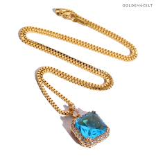 golden jewelry necklace images Indoor golden gilt tif blue stone gold jewelry chain accessories jpg