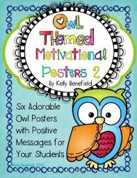 themed posters owl themed motivational posters set 2 by benefield tpt