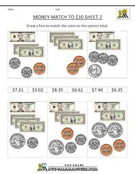 printable money worksheets to 10