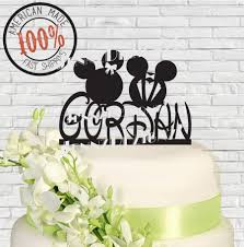 surname last name mickey and minnie mouse wedding cake topper
