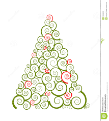 swirl silhouette of christmas tree stock vector image 16900995