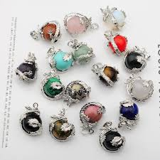 silver dragon pendant necklace images Hot sales natural semi precious stone round crystal balls wrapped jpg